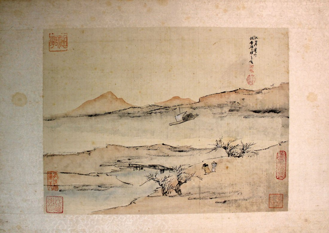 4 PIECES OF CHINESE INK AND COLOR PAINTING ALUMB ON - 5