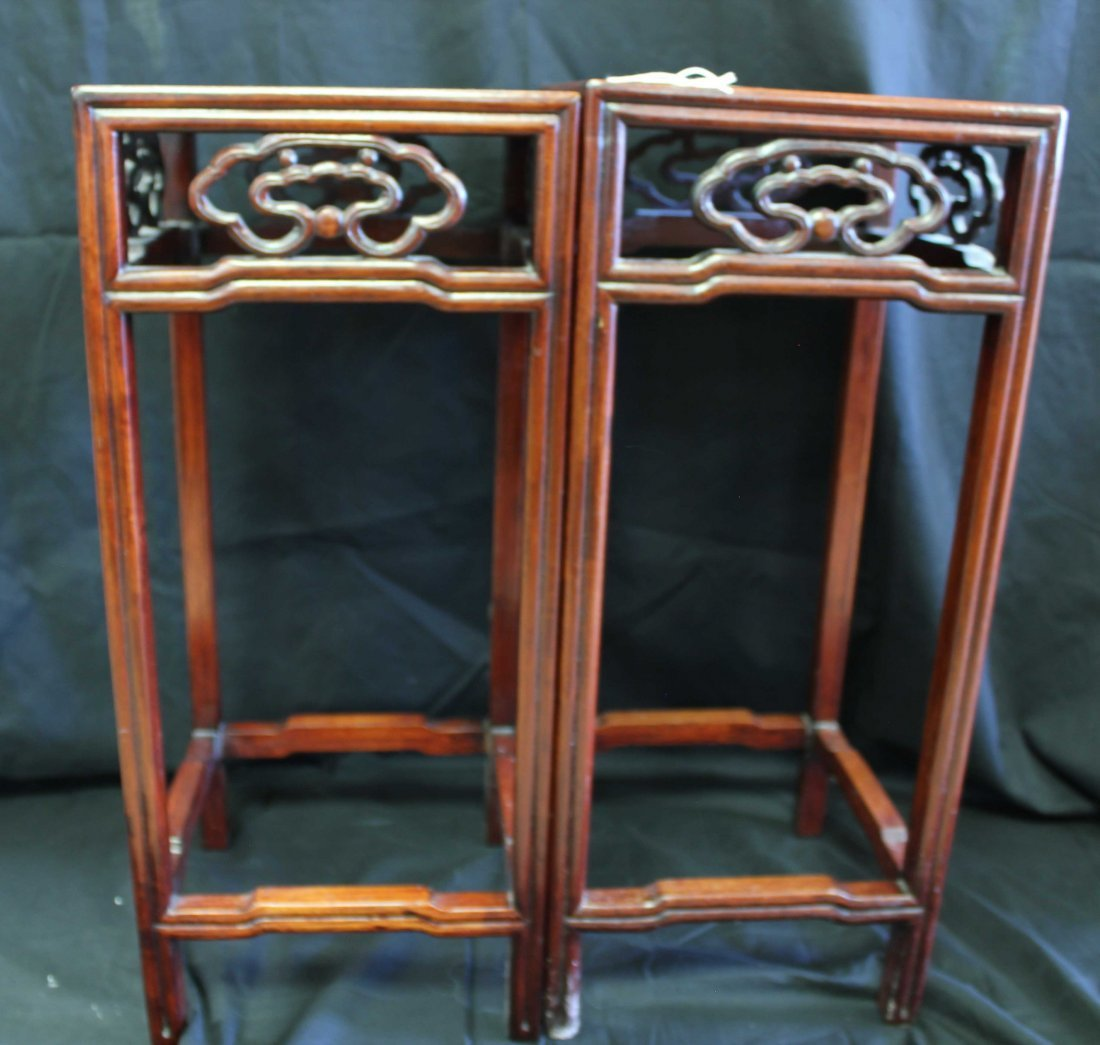A PAIR OF CHINESE WOODEN PLANTER STANDS