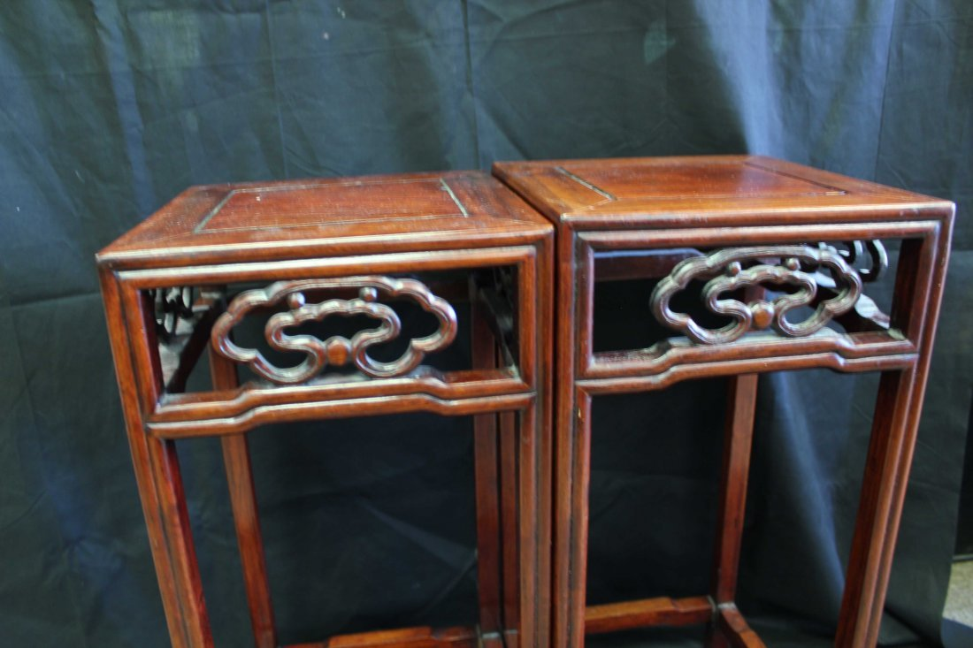 A PAIR OF CHINESE WOODEN PLANTER STANDS - 2