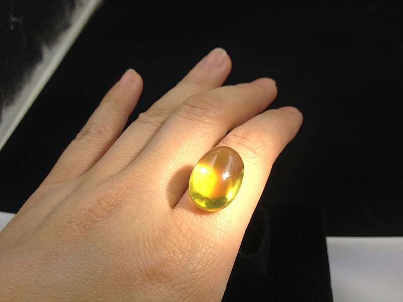 Golden Burmite Amber in Ring size