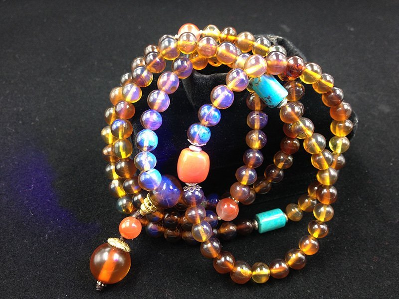 Brownish Red Burmite Amber Bracelet with 108 Beads