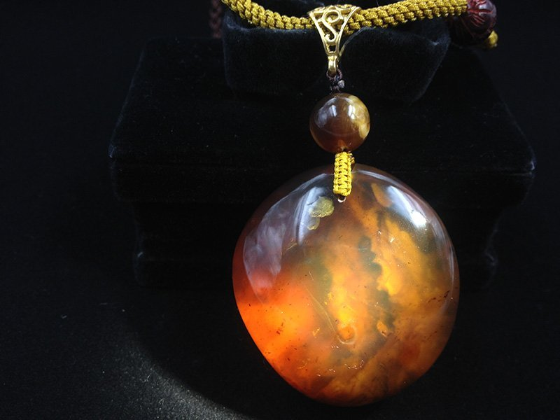 Burmite Amber Pendant with cloudy inclusion