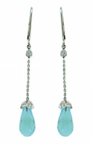 Blue Topaz Briolette and Diamond Earrings