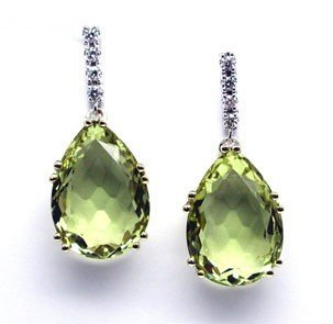 Lemon Quartz and Diamond Earrings
