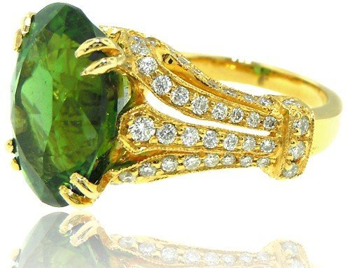 Cuprian Green Tomaline and Diamond Ring