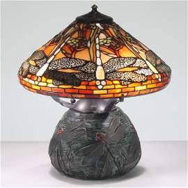16-inch Dragonfly Tiffany-Inspired Gemstone Table Lamp