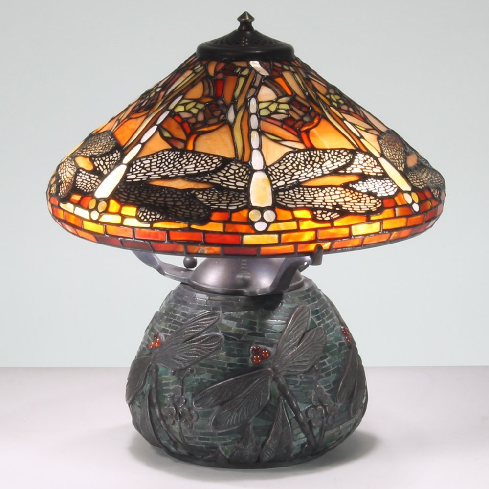 16-inch Dragonfly Tiffany-Inspired Gemstone Table Lamp
