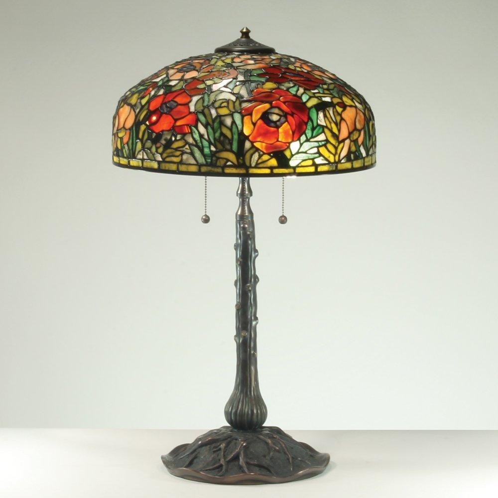 17-inch Oriental Poppies Tiffany-Inspired Gemstone Lamp