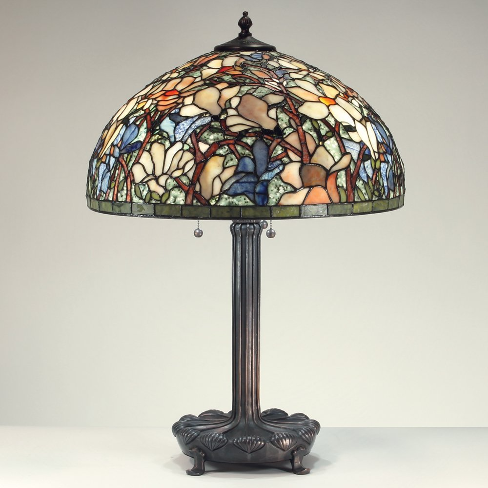 20-inch Magnolia Tiffany-Inspired Gemstone Table Lamp