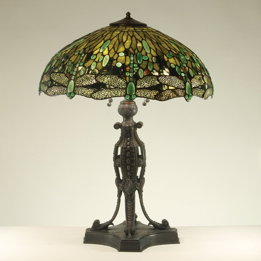22-inch Dragonfly Tiffany-Inspired Gemstone Table Lamp