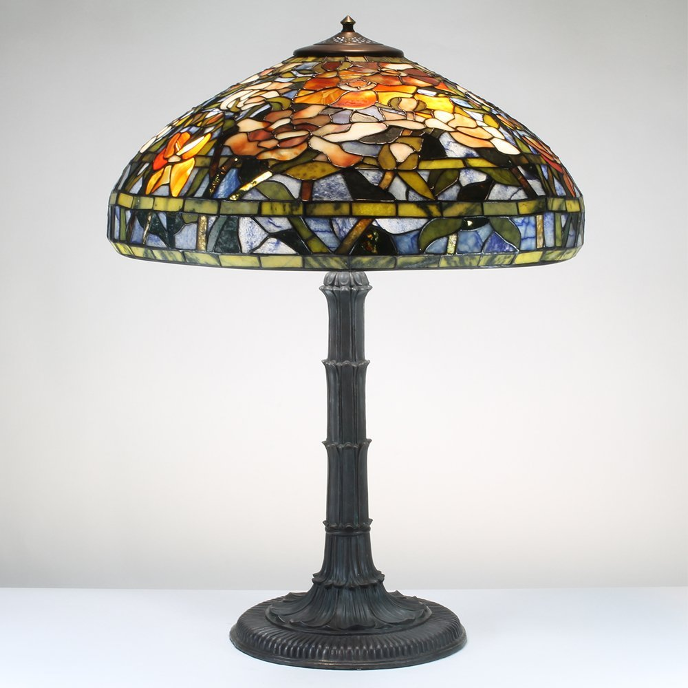 22-inch Peony Tiffany-Inspired Gemstone Table Lamp