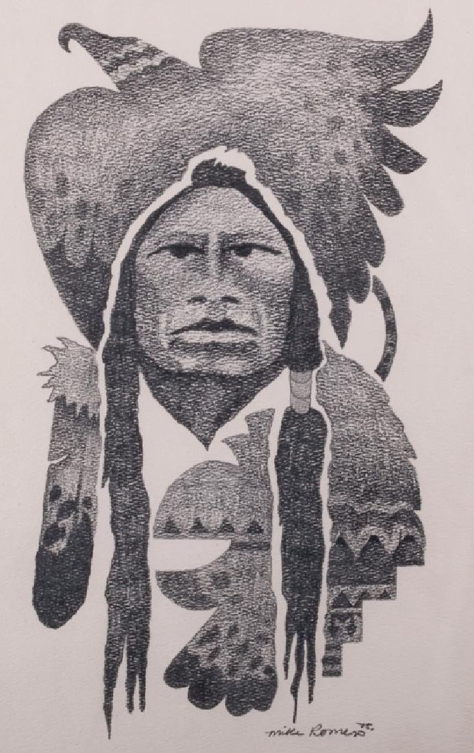 "Mike Romero ""Eagle Robe"" Graphite Drawing on Paper"