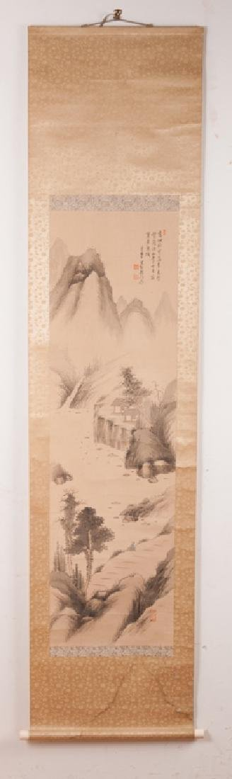 Asian Watercolor On Silk Scroll w/ Bone Ends