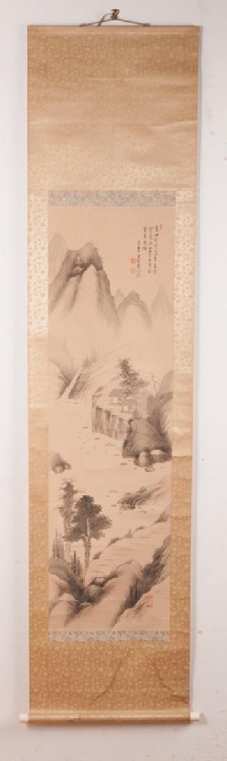 Asian Watercolor On Silk Scroll w/ Bone Ends