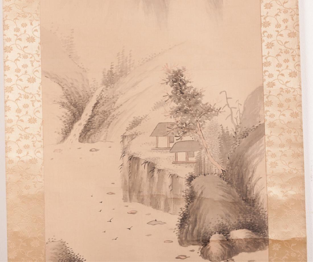 Asian Watercolor On Silk Scroll w/ Bone Ends - 6