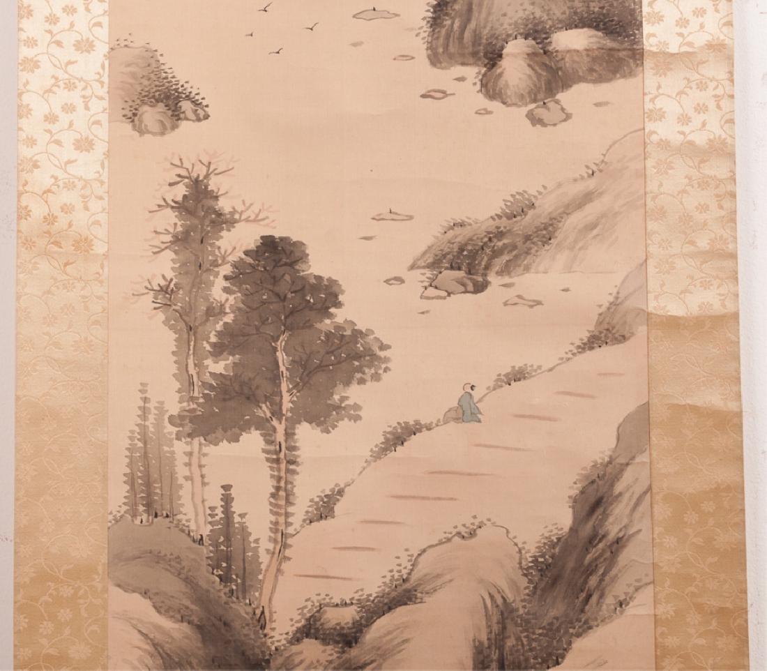 Asian Watercolor On Silk Scroll w/ Bone Ends - 7
