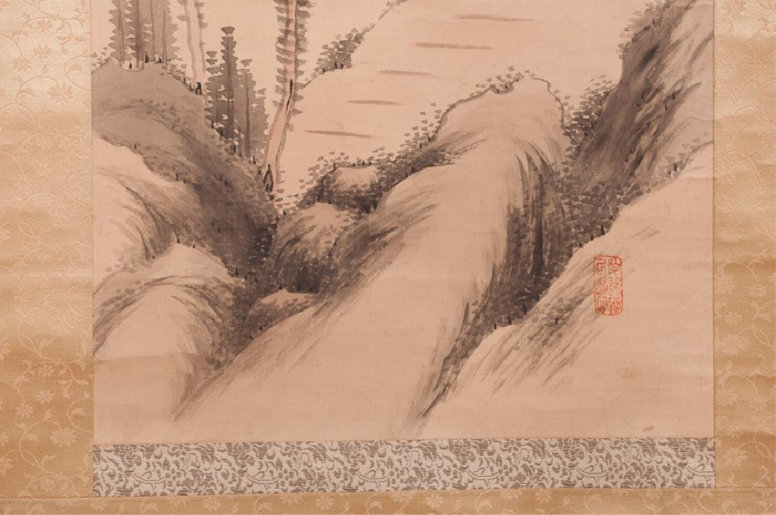 Asian Watercolor On Silk Scroll w/ Bone Ends - 8