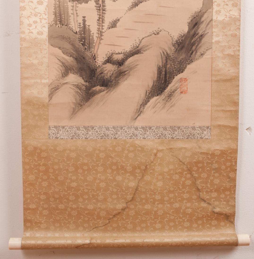 Asian Watercolor On Silk Scroll w/ Bone Ends - 9