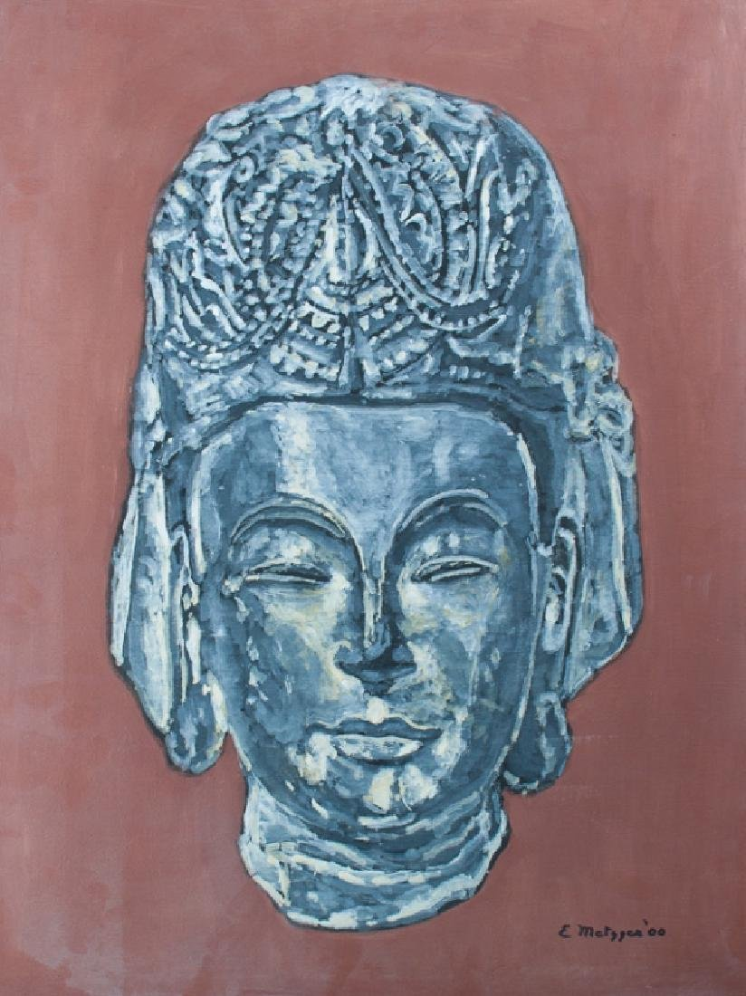 Evelyn Metzger Southeast Asian Buddha Oil on Panel