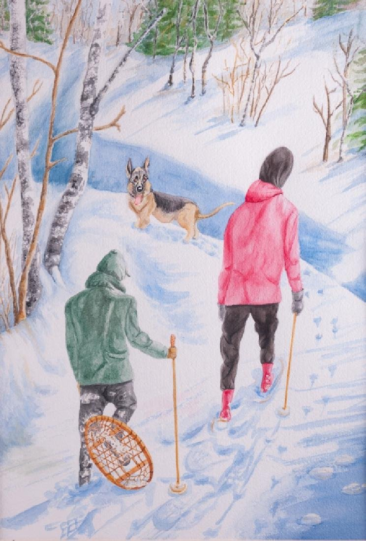 "Emilie Fishman ""Who Is Breaking Trail"" Watercolor"