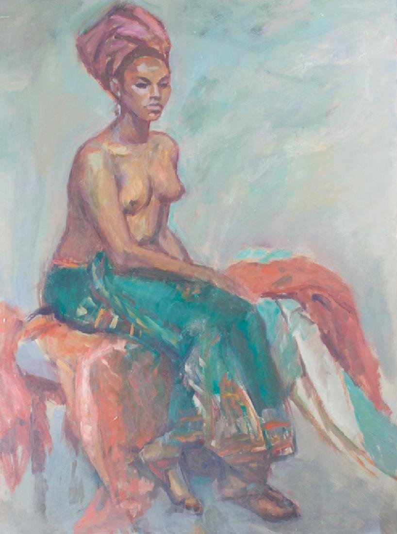 Evelyn Metzger Semi Nude Woman Oil on Masonite