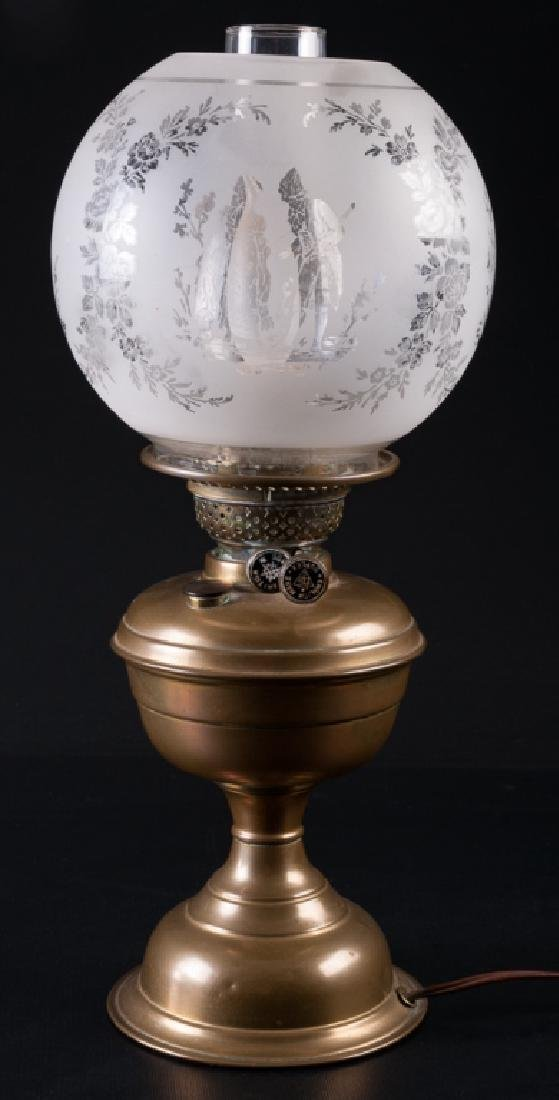 Brass Oil Lamp, Converted to Electric