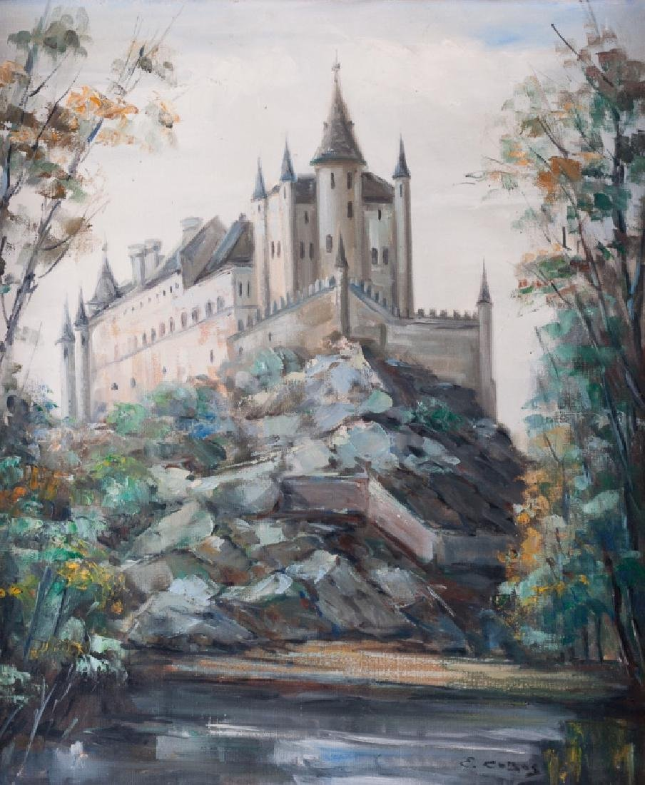 "E. Cobos ""Alcázar de Segovia"" Oil on Canvas"