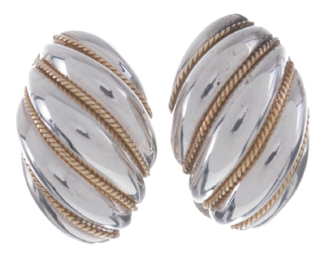 Tiffany & Co. Sterling & 18K Swirl Earrings