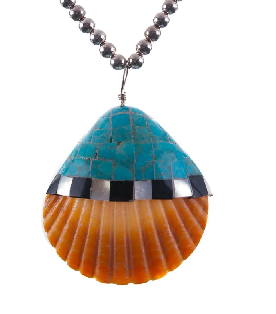 Silver Bead Necklace with Shell Pendant