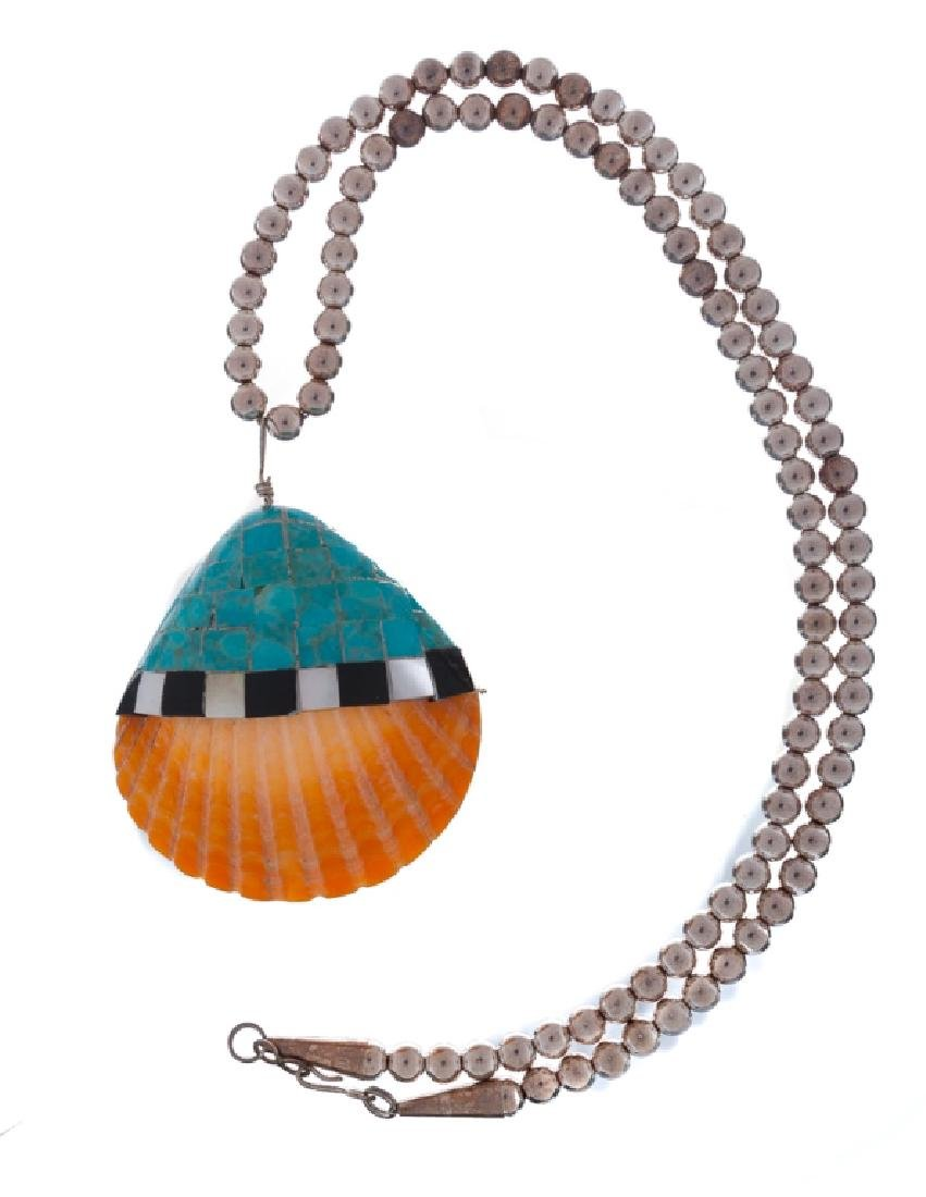 Silver Bead Necklace with Shell Pendant - 2