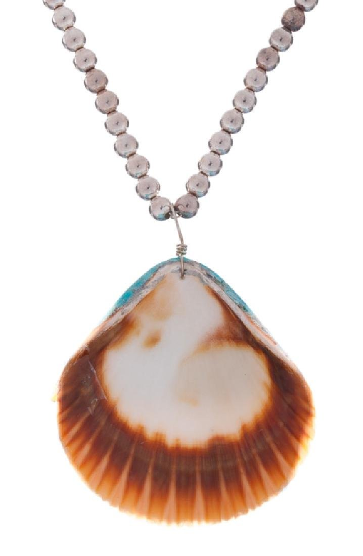 Silver Bead Necklace with Shell Pendant - 4