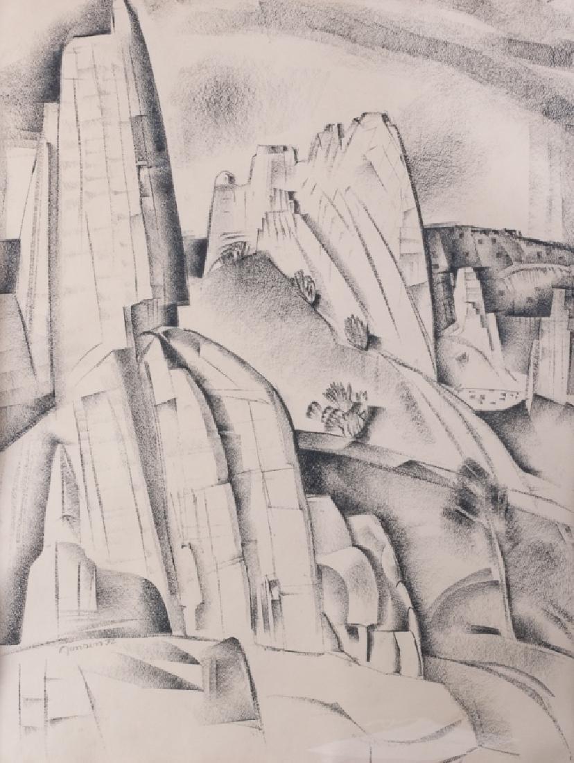 "Raymond Jonson ""Cerrillos Rocks 1932"" Mixed Media"