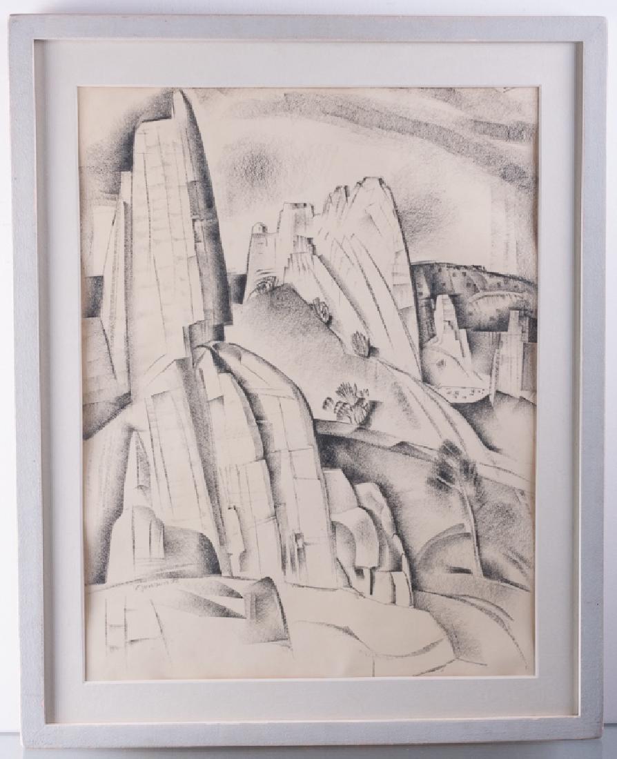 "Raymond Jonson ""Cerrillos Rocks 1932"" Mixed Media - 2"