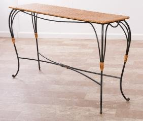 Wrought Iron & Rattan Console Sofa Table