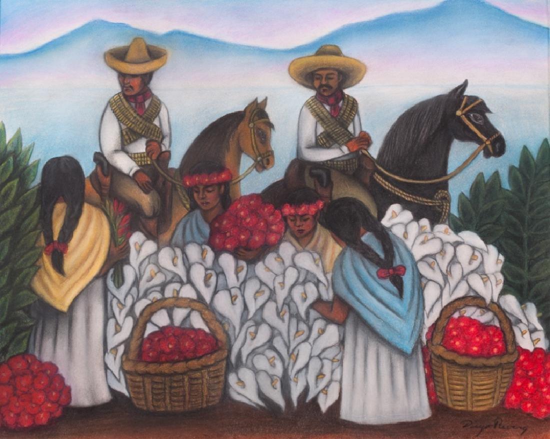 """Diego Rivera """"Mercado de Flores"""" Pastel Drawing"""