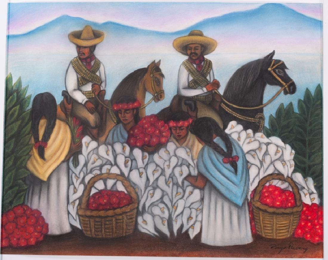 """Diego Rivera """"Mercado de Flores"""" Pastel Drawing - 2"""
