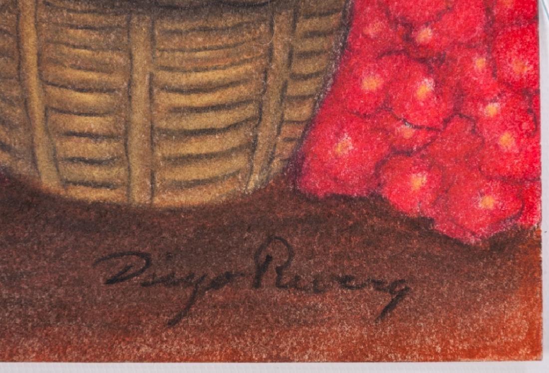 """Diego Rivera """"Mercado de Flores"""" Pastel Drawing - 3"""