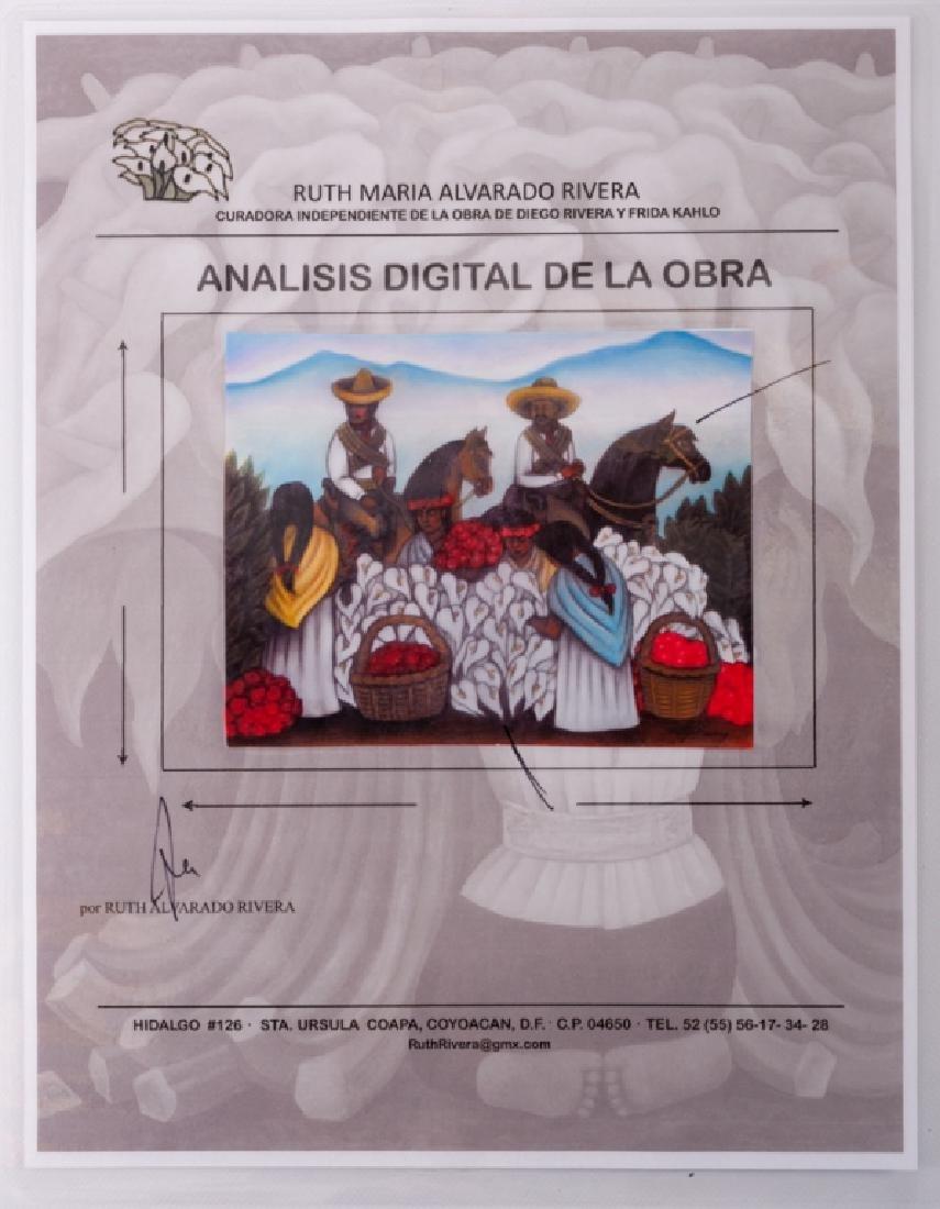 """Diego Rivera """"Mercado de Flores"""" Pastel Drawing - 5"""