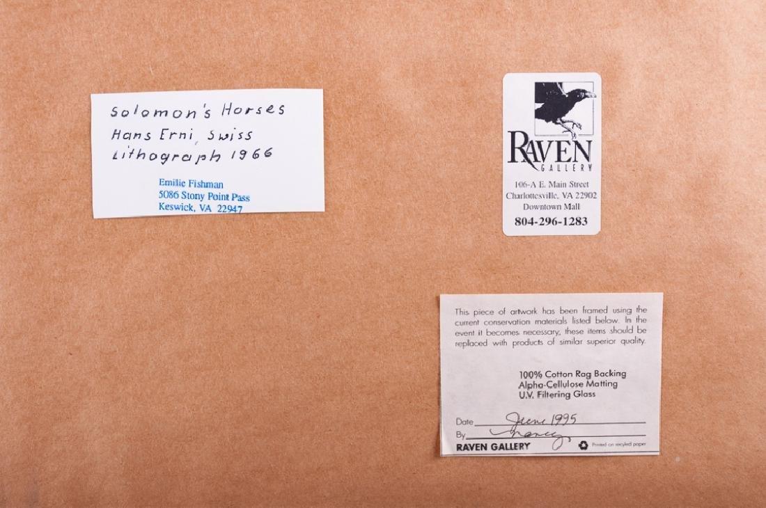 """Hans Erni """"Solomon's Horses"""" Signed Lithograph - 6"""