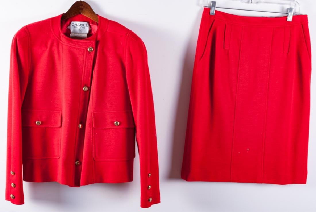 Chanel Red Wool Skirt & Jacket Suit, Size 38