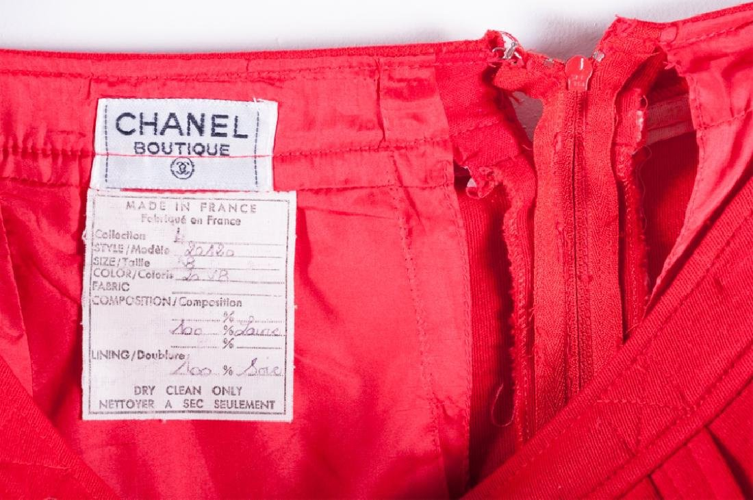 Chanel Red Wool Skirt & Jacket Suit, Size 38 - 3