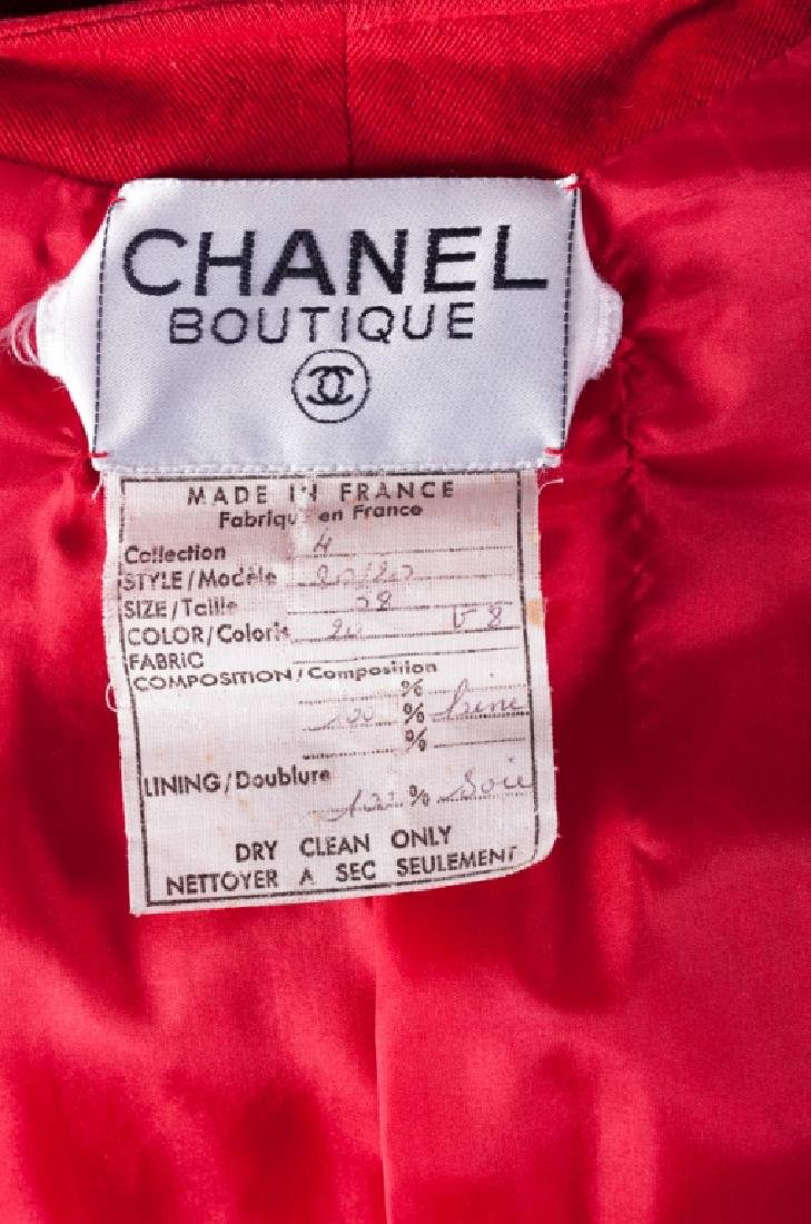 Chanel Red Wool Skirt & Jacket Suit, Size 38 - 4