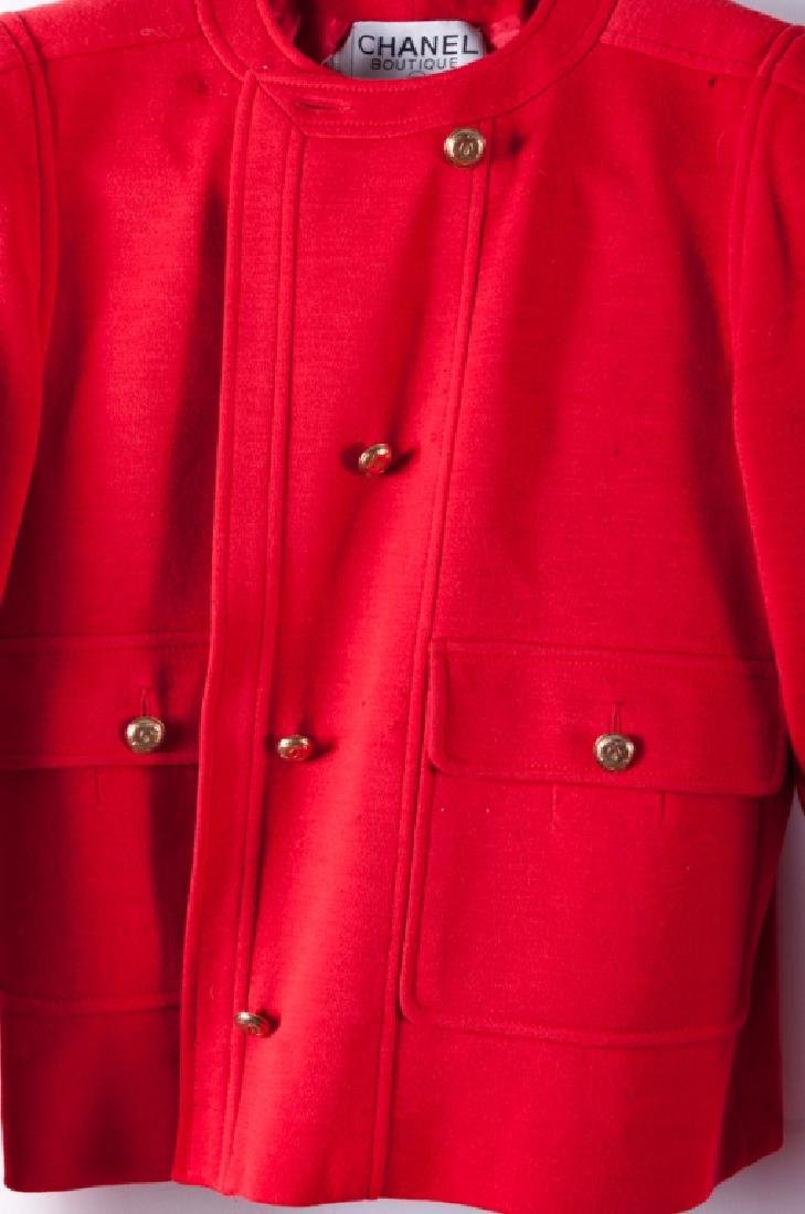 Chanel Red Wool Skirt & Jacket Suit, Size 38 - 5
