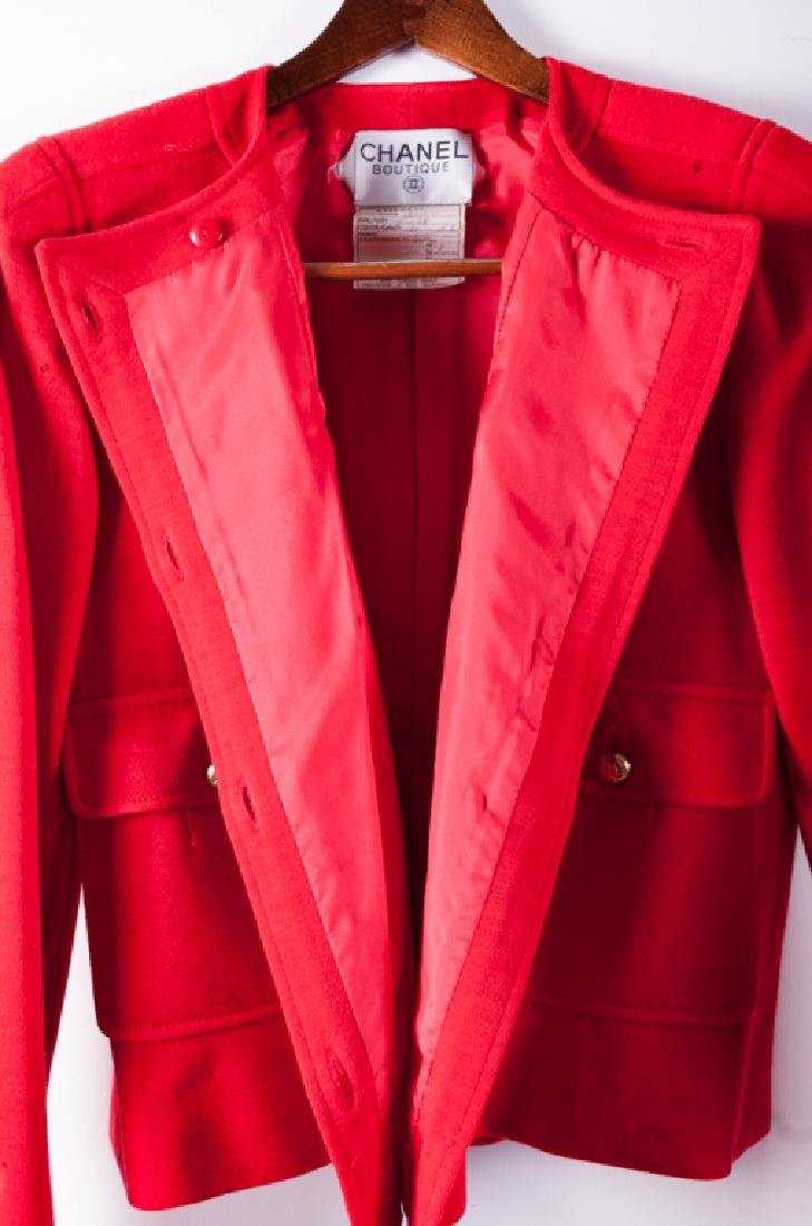 Chanel Red Wool Skirt & Jacket Suit, Size 38 - 9