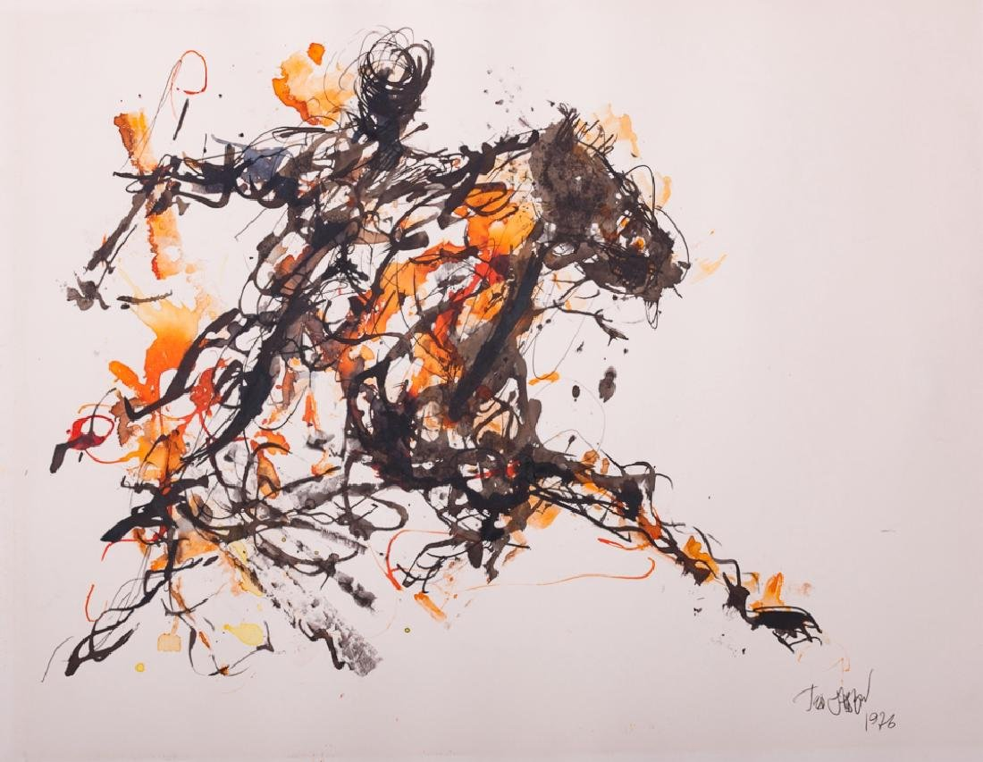 """Ted Jaslow """"Russian Horsman"""" Ink and Watercolor"""