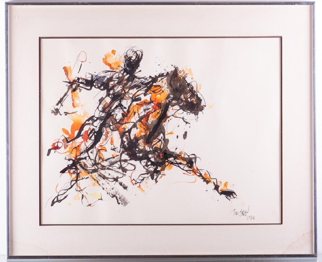 """Ted Jaslow """"Russian Horsman"""" Ink and Watercolor - 5"""