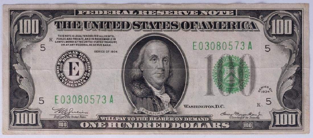 Federal Reserve Richmond $100 Note Series of 1934