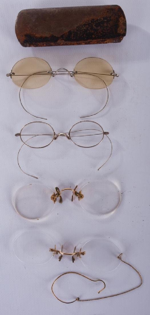 Antique Eyeglasses Collection with One Case