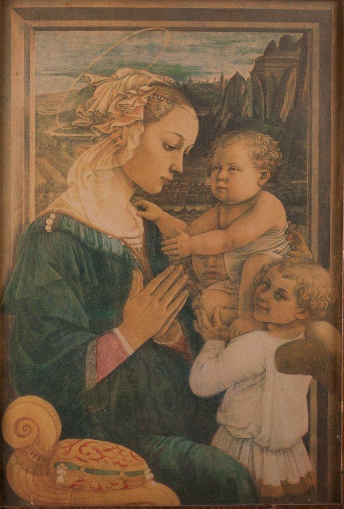 Triptych Frame with Madonna & Christ Child Print