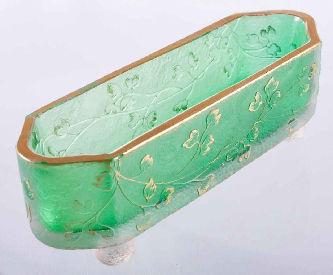 Daum Nancy Green Glass Dish w/ Gilt Trim